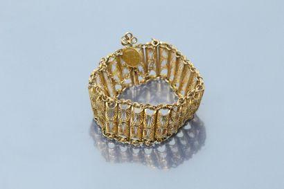 Bracelet articulé en or jaune 18K (750) filigrané,...