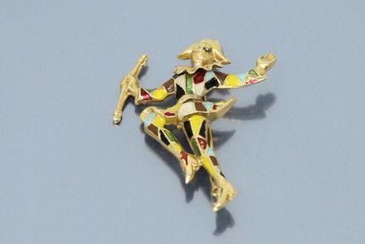 Broche en or jaune 18K (750) émaillé figurant...