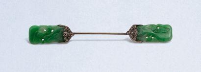 Epingle à jabot en or gris 18K (750) serti...