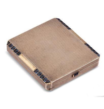 Poudrier rectangulaire en argent 925 guilloché...