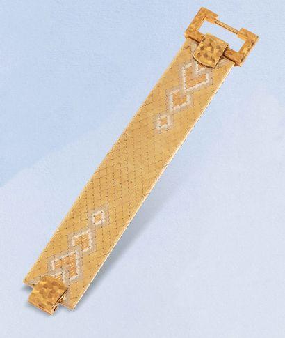 Bracelet manchette articulé en or 18K (750)...