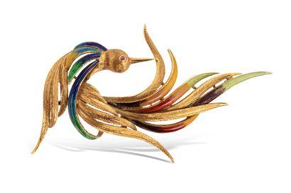 Broche « oiseau de Paradis » en or jaune...