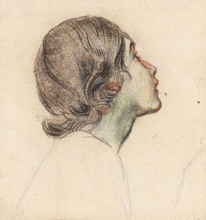 RIESENER Léon, 1808-1878  Tête de jeune fille...