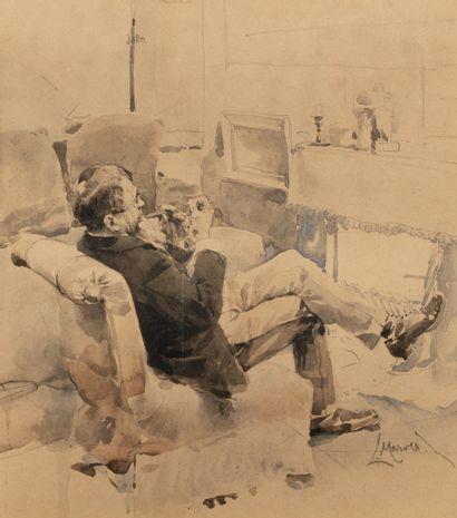MAROLD Ludwig, 1865-1898  Homme à la pipe...