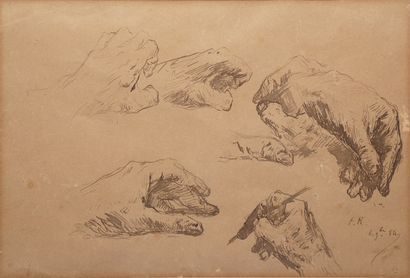 RIBOT Théodule, 1823-1891  Études de mains,...