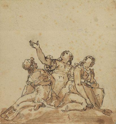 ECOLE ITALIENNE du XVIIIe siècle  Trois femmes...