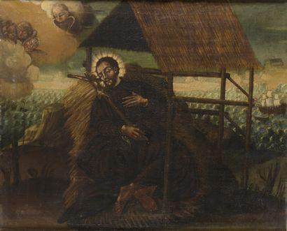 ECOLE ESPAGNOLE  Dans le Goût du XVIIe siècle  Saint en extase dans son ermitage...