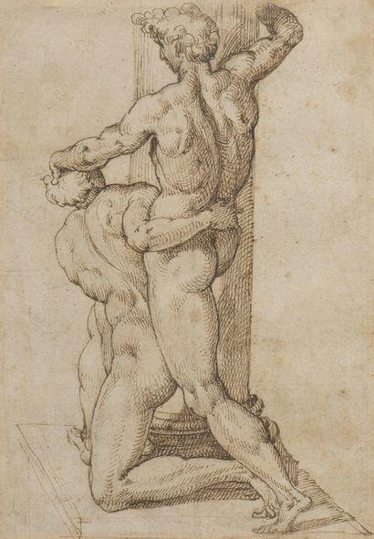 PASSEROTTI Bartolomeo et Atelier (Attribué à)  Bologne 1529 - 1592  Etude de deux...
