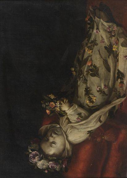 ECOLE ESPAGNOLE du XVIIe siècle  Enfant reposant sous les fleurs  Huile sur toile...