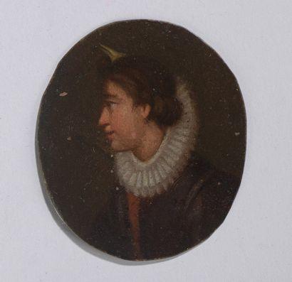 ECOLE FRANCAISE Premier Tiers du XVIIe siècle  Portrait de profil de femme à la...