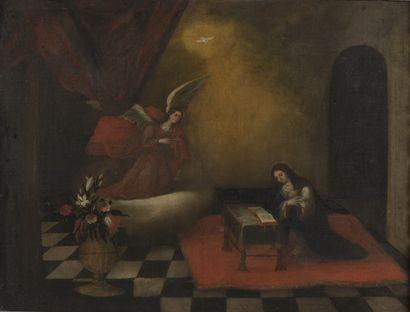 ECOLE ESPAGNOLE du XVIIe siècle  L'Annonciation  Huile sur toile (rentoilage ; quelques...