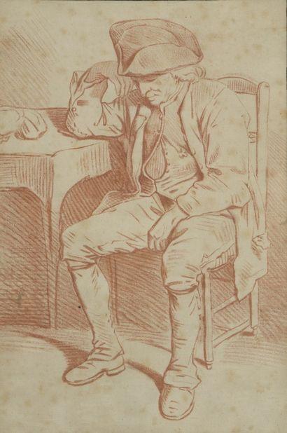 ECOLE FRANCAISE du XVIIIe siècle  Homme assis...