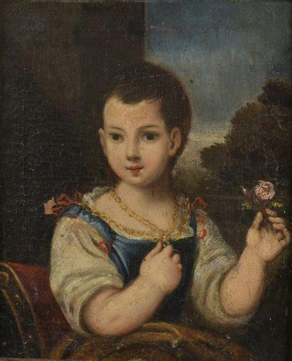 ECOLE ITALIENNE Milieu du XVIIIe siècle  Portrait...