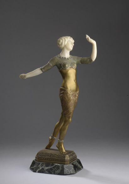 Émile MONIER (1883-1970)  Danseuse  Chryséléphantine...