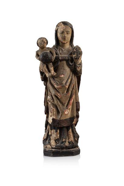 Vierge à l'Enfant dite au raisin en bois...