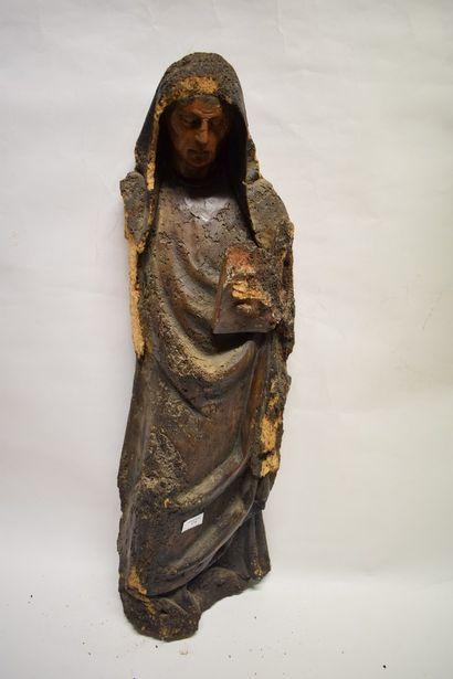 Sainte femme en bois sculpté du XVIe siècle....