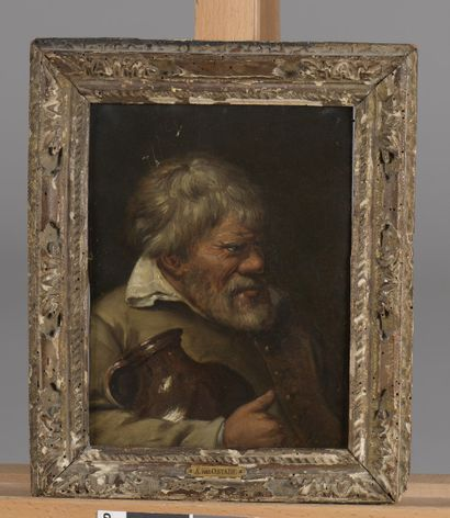 BROUWER, Adriaen (Ecole de)  Audenard 1605 / 1606 - Anvers 1638  Portrait d'homme...