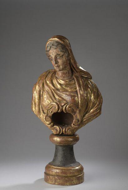 Buste reliquaire d'une sainte Femme en bois...