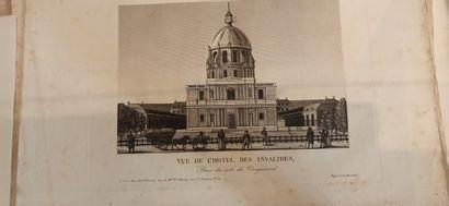 VUES  Réunion de Vues de Paris, Louvre, jardin des Tuileries, colonne Vendôme, Institut,...