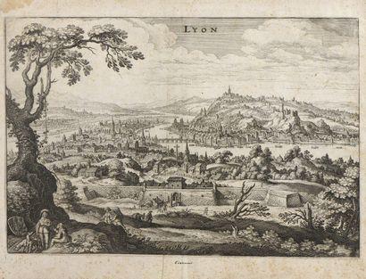 VUES  Vue de Lyon XVIIe.  Et réunion de 14...