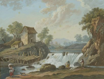 ECOLE FRANCAISE du XVIIIe siècle  1 - Paysage...