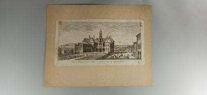 VUES  Vue de Lyon XVIIe.  Et réunion de 14 petites vues sur Lyon éditées par Israël....