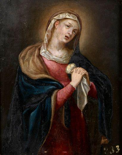ECOLE FLAMANDE du XVIIe siècle  La Vierge...