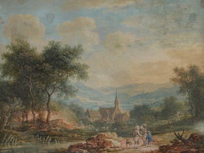 ECOLE FRANCAISE du XVIIIe siècle  Village...