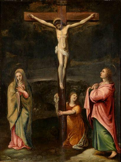 ECOLE FLAMANDE Vers 1600  Le christ en croix...