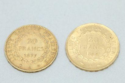 Lot of 2 gold coins of 20 Francs au Génie  In Paris :1877, 1886.  Weight : 12.90...