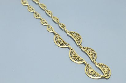Collier draperie en or jaune 18k (750) à...