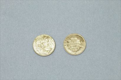 Deux pièces en or de 10 francs Napoleon III (1865 B) et Cérès IIIe République (1899...
