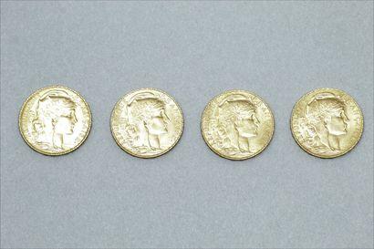 Lot de quatre pièces en or jaune de 20 francs au Coq (1914)  TTB à SUP  Poids :...