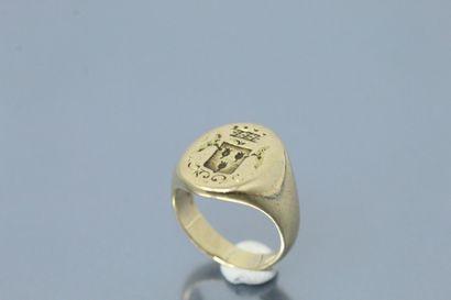 Chevalière en or jaune 18k (750).  Tour de doigt : 42 - Poids : 6.86 g.