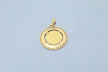 Pendentif en or jaune 18k (750) orné d'une pièce de 20 francs Napoleon III (1856...