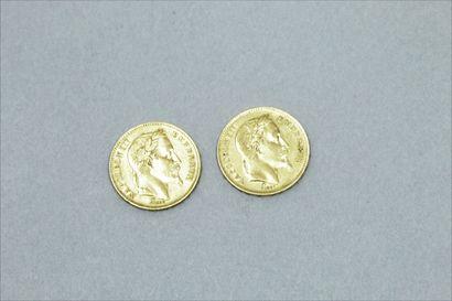 Lot de deux pièces en or de 20 francs Napoléon...