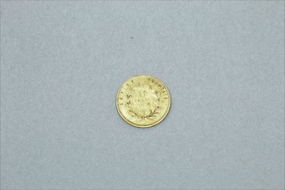 Gold coin of 10 francs Napoleon bare head 1858 A ( Paris ).  Weight : 3.18 g.