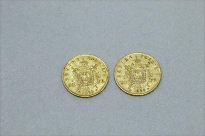 Lot de deux pièces en or de 20 francs Napoléon III tête laurée (1868 A ; 1869 BB)...