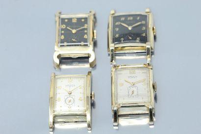 Lot de quatre boîtiers de montres en métal...