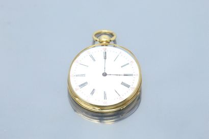 18k (750) yellow gold pocket watch, white enamelled dial, Roman numerals for the...