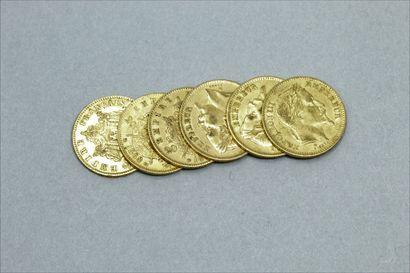Lot de 6 pièces en or de 20 Francs Napoléon...