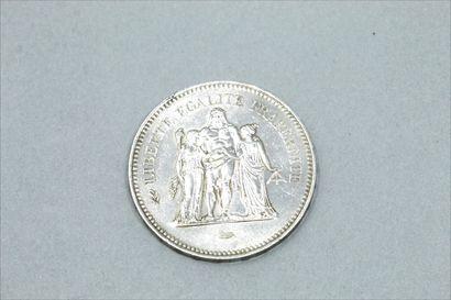 Pièce de 50 francs Hercule 1977.  Poids :...