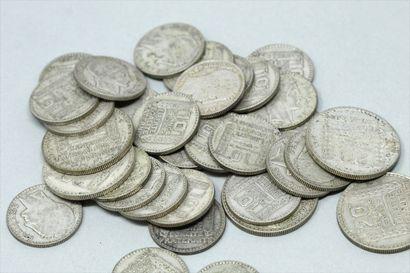 Lot de pièces en argent :  10 Francs TURIN...