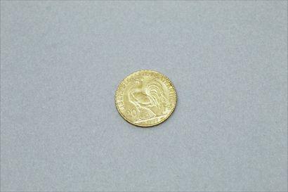 Pièce en or de 20 francs Coq 1909.  Poids : 6.45 g. TB.