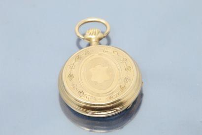 Montre de gousset en or jaune 18k (750), cadran émaillé blanc à chiffres romains...
