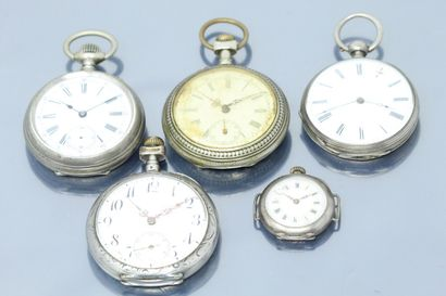 Lot de quatre montres de gousset dont une...