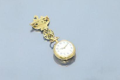 Montre de col en or jaune 18k (750), cadran...