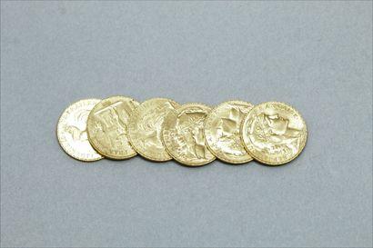 Lot de 6 pièces en or de 20 Francs :  - au...
