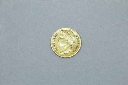 Pièce en or de 20 Francs Napoléon tête laurée...