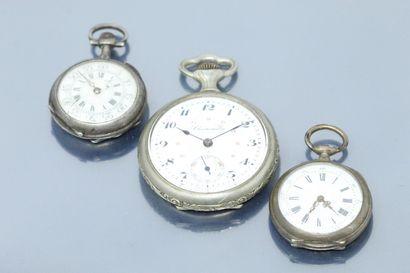 Lot de deux montres de col en argent, cadran...